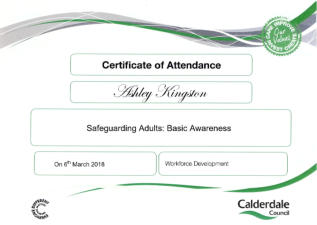 Certificate - Safeguarding Adutls at Risk with Calderdale Council.